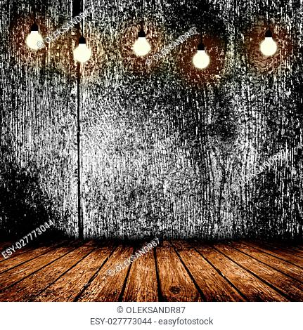 Empty room with wooden floors and a lamp. 3D illustration