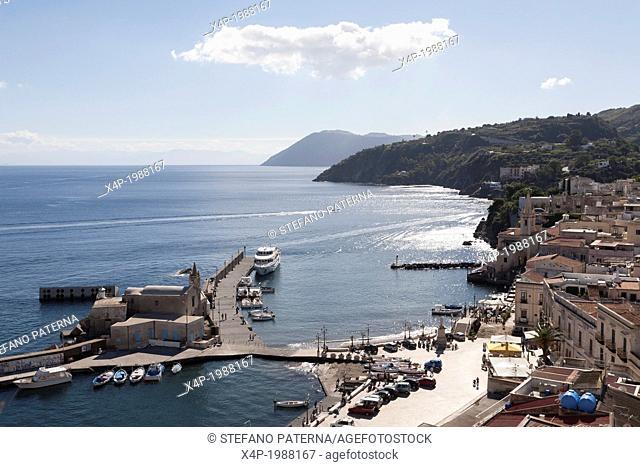 View over Marina Corta, Upper Town, Lipari, Aeolian Islands, Italy