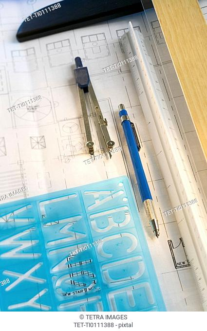 Architectural tools and blue prints