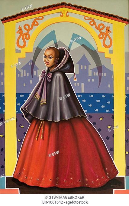 Painting of the famous slave courtesan Chica da Silva, Diamantina, Minas Gerais, Brazil, South America