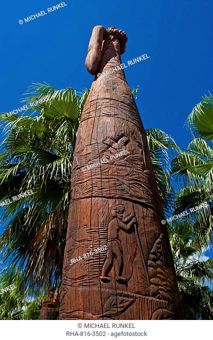 Wooden statues in the sculpture garden of La Foa, West coast of Grand Terre, New Caledonia, Melanesia, South Pacific, Pacific