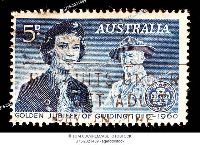 1960 golden jubilee girl guiding Australia postage stamp