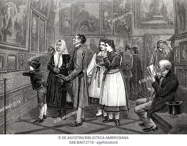 The picture gallery, engraving from a painting by Benjamin Vautier (1829-1898), illustration from the magazine The Illustrated London News, volume LXII