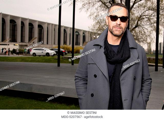 Actor Raoul Bova, protagonist of the TV series Fuoco amico TF45 - Eroe per amore, during his visit to the editorial office of the weekly listings magazine TV...