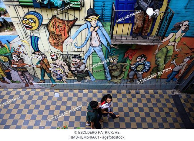Argentina, Buenos Aires, La Boca district, mural on Magallanes street near Caminito street