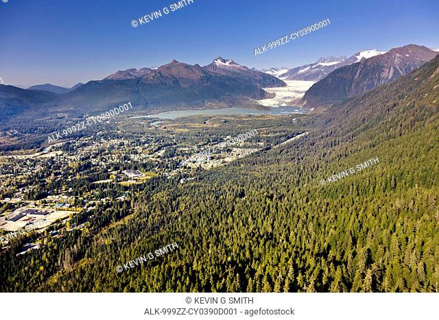 Aerial view looking across the Gold and Granite creek drainages towards Mendenhall Glacier, Juneau, Southeast Alaska, Summer