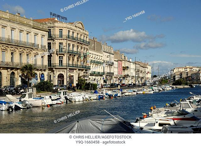 Royal Canal and Boats along Quai de Tassigny Sète France