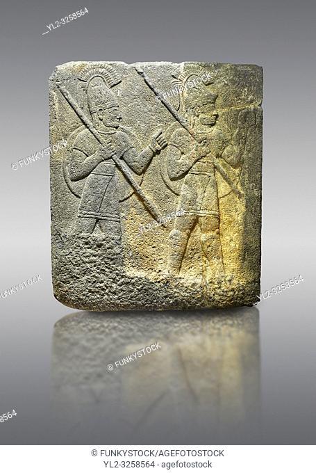 Hittite relief sculpted orthostat stone panel of Herald's Wall. Limestone, Karkamis, (Kargamis), Carchemish (Karkemish), 900-700 B.C. Military parade