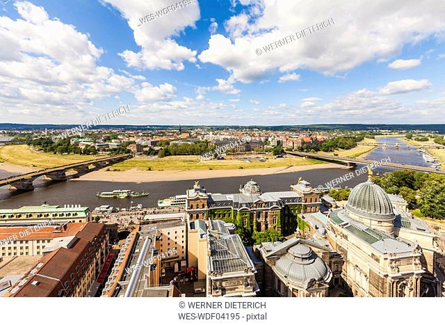 Germany, Dresden, View over old city center