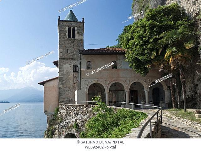 Santa Caterina del Sasso sanctuary, Lake Maggiore, Varese province, Lombardy, Italy