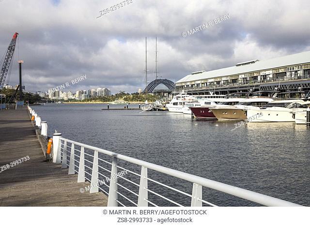 Jones Bay Wharf in Pyrmont Sydney city centre, contains luxury boats in a marina and commercial office space.It has historic significance to Sydney,Australia