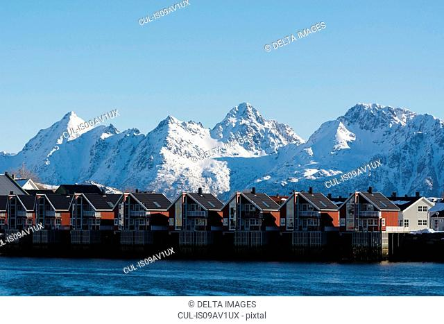 Row of waterfront houses, Svolvaer, Lofoten Islands, Norway
