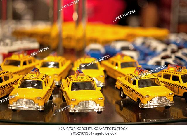 New York taxi toy car displayed in a souvenir store