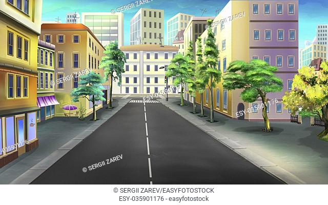 Digital painting of the city streets. Crossroads, traffic light, crosswalk