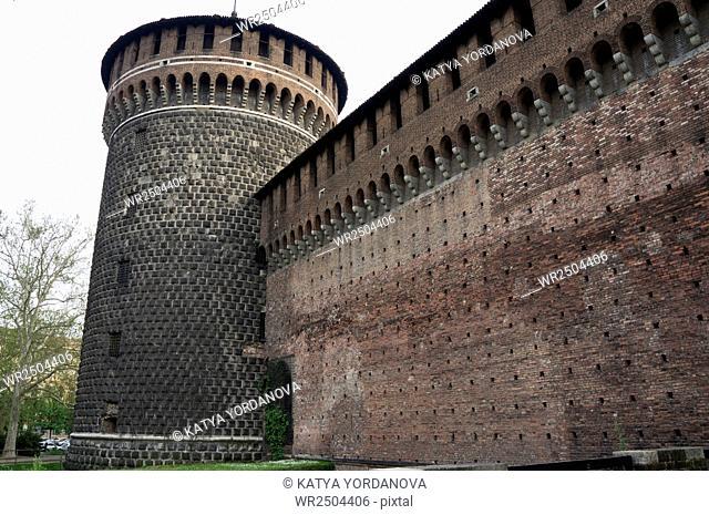 Castello Sforzesco, the medieval castle, Milan, Italy