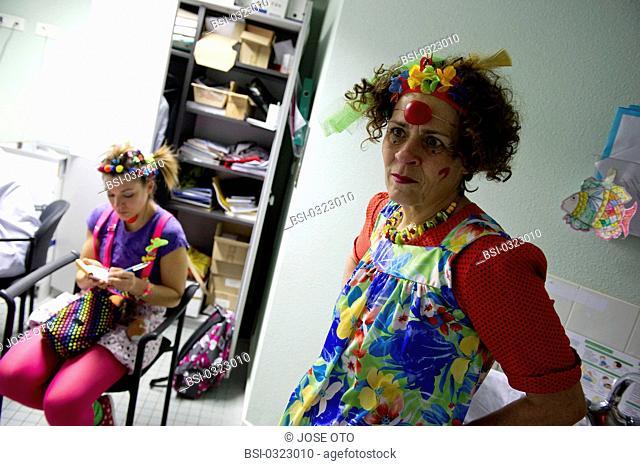 Photo essay on the association 'The Clowns Stethoscopes' at the Children's hospital, University hospital of Bordeaux, France