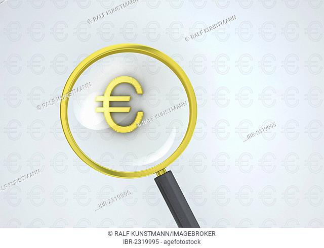 Magnifying glass with a golden euro symbol, conceptual image for currency dominance or exchange rates