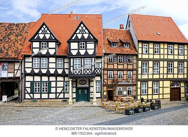 Finkenherd, Schlossberg, alley in the historic town of Quedlinburg, Saxony-Anhalt, Germany, Europe