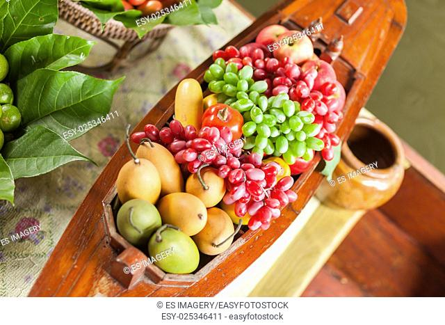 Assorted fresh fruit in a floating kitchen in Thailand