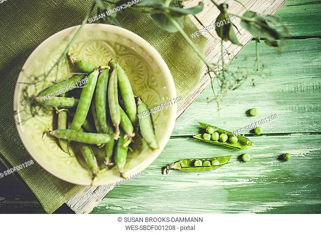 Bowl of peapods, Pisum sativum, and opened peapods on wood