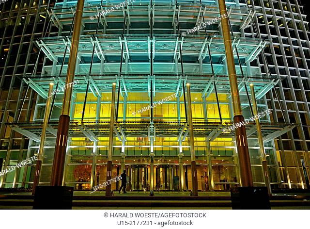 Hong Kong, China, Asia. Hong Kong Central. Entrance to the Hong Kong Monetary Authority (HKMA), being resident in the 415-metre-tall tower of International...