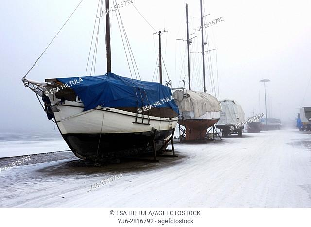 foggy harbour scene, Lappeenranta Finland