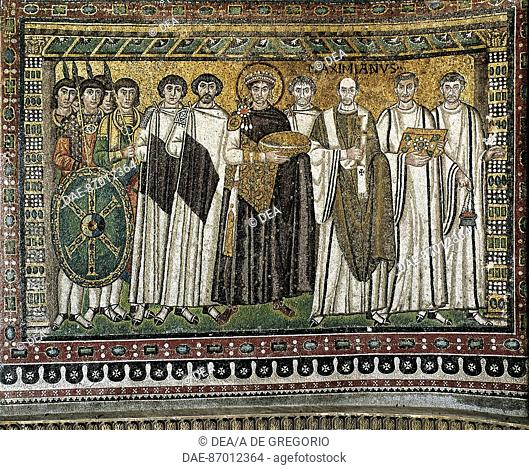 Emperor Justinian and his entourage, mosaic, northern wall of the apse, Basilica of San Vitale (UNESCO World Heritage List, 1996), Ravenna, Emilia-Romagna