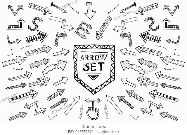 Hand drawn arrow icons set isolated on white background. Vector Illustration. Education or business concept