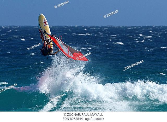 Wind surfer wave jumping, Esperance Western Australia