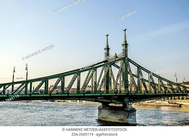 Closeup on Liberty Bridge (or Freedom Bridge, Hungarian: Szabadsag Hid) 19th century metal structure with Coat of Arms in Budapest, Hungary