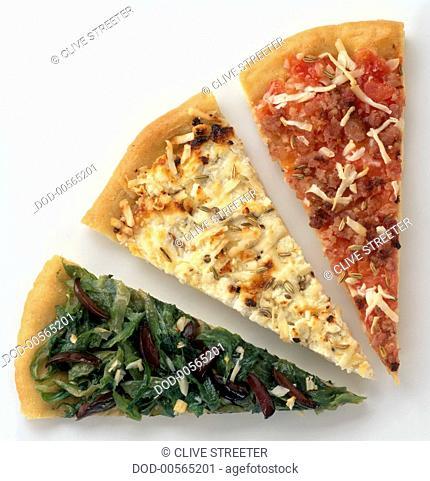 Slices of Pizza con Salsiccia, Pizza con Ricotta, and Piza con Scarola, close-up