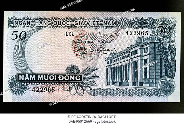 50 dong banknote, 1969, obverse, building. South Vietnam, 20th century
