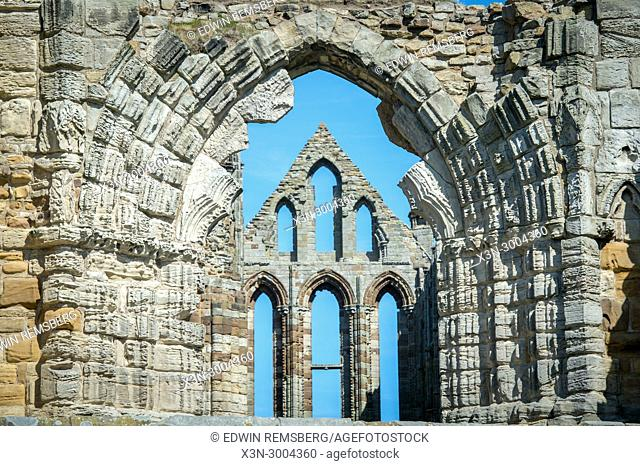 Archway frames exterior structure of Whitby Abbey, Whitby, Yorkshire, UK