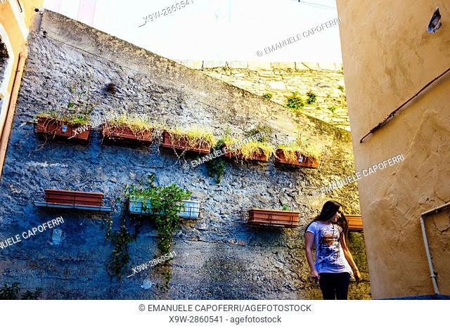 Little girl in valloria, Liguria, Italy