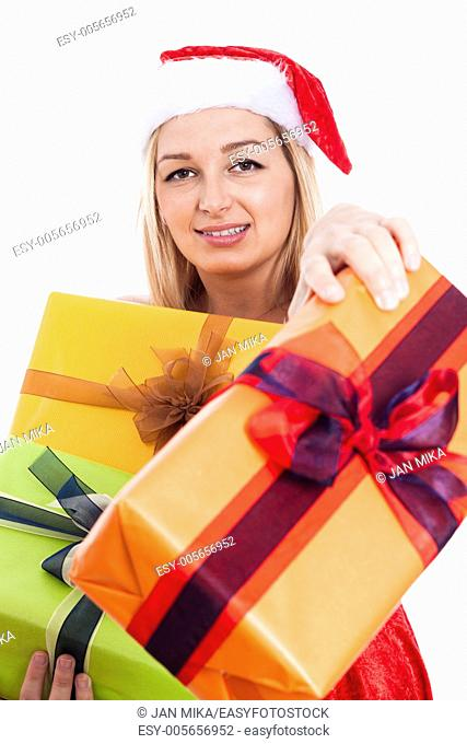 Generous Christmas woman giving presents, isolated on white background