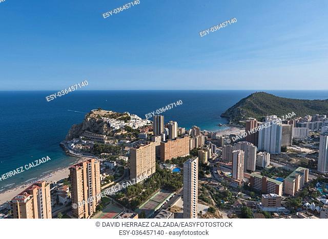 Aerial view of Benidorm city skyline, in Alicante province, Spain