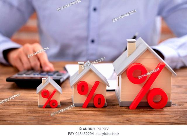 Close-up Of A House Models With Percentage Symbol In Front Of Businessperson Working In Office