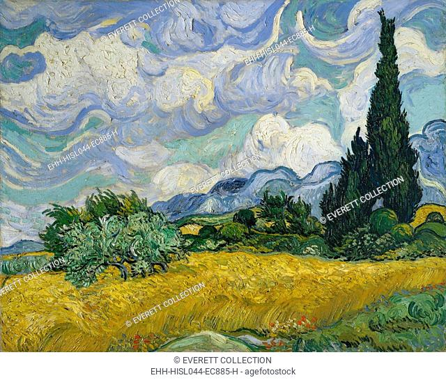 Wheat Field with Cypresses, by Vincent Van Gogh, 1889, Dutch Post-Impressionist, oil on canvas. This was his first version and was likely painted en plein air