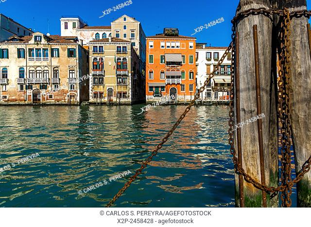View of the Grand Canal from the historic market of Rialto in Venice, Italy