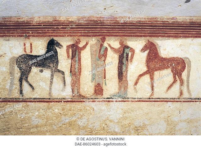 Three men and two horses, fresco, Tomb of The Baron, Necropolis of Tarquinia (Unesco World Heritage List, 2004), Lazio, Italy