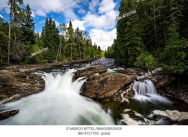 Wild River with Waterfall, near Dawson Falls, Wells Gray Provincial Park, British Columbia, Canada
