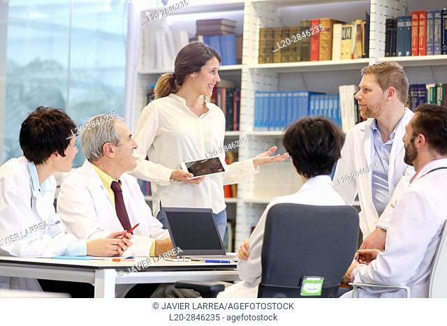 Saleswoman at doctors' meeting, clinical session, Hospital, Donostia, San Sebastian, Gipuzkoa, Basque Country, Spain