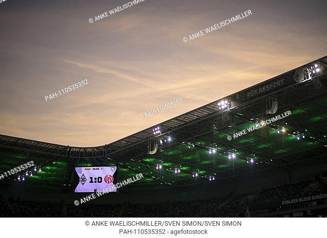 Feature, scoreboard, banner for respect at the stadium Borussia-Park, sunset, sky, football 1.Bundesliga, 8.matchday, Borussia Monchengladbach (FSV) FSV FSV...