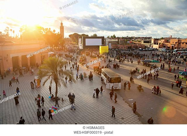 Morocco, Marrakech, view to Djemaa el-Fna square at sunset