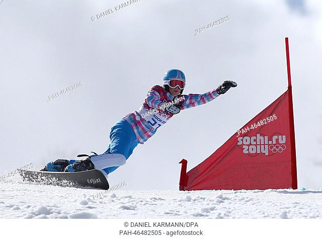 Alena Zavarzina of Russia competes in the Small Final of the Snowboard Women's Parallel Giant Slalom of the Snowboard event in Rosa Khutor Extreme Park at the...