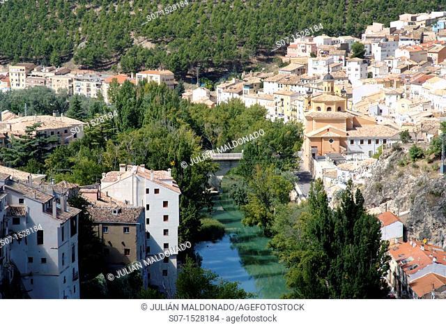 Júcar River as it passes through the city of Mammals, Castilla La Mancha, Spain