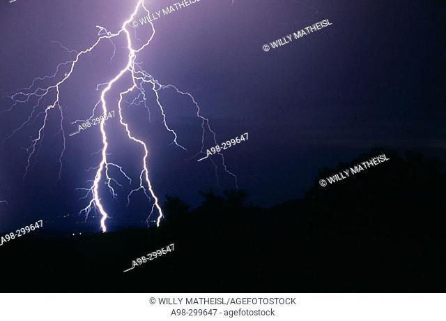 Lightning over Danube Valley. Bavarian forest. Germany