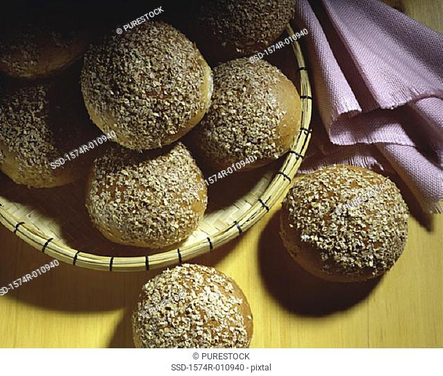 Close-up of bread buns in a basket