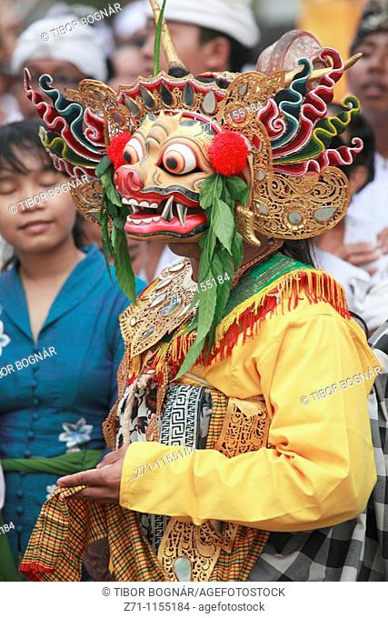 Indonesia, Bali, Mas, temple festival, masked dancer, odalan, Kuningan holiday