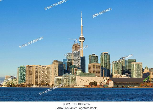 Canada, Ontario, Toronto, skyline from Polson Pier, morning